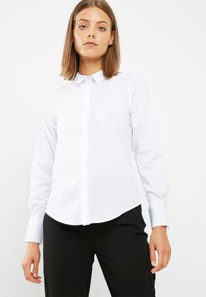 New Look Long Sleeve Work Shirt White