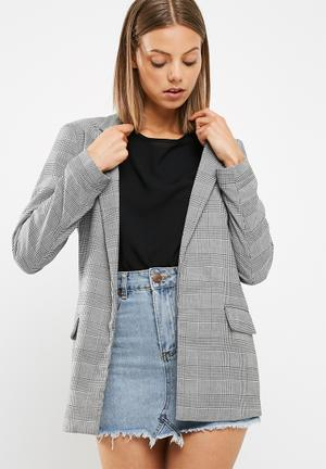 New Look Check Girlfriend Blazer Jackets Grey, Black & White
