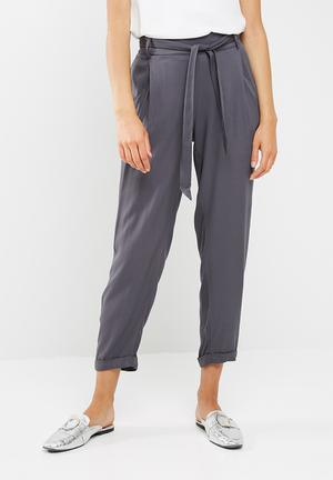 New Look Jasmine Tie Waist Trousers Charcoal