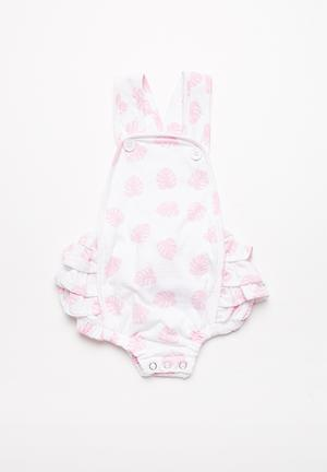 Kapas Ruffled Playsuit Babygrows & Sleepsuits Pink & White