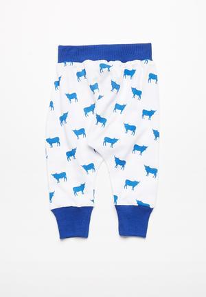 Kapas Harem Pants Blue & White