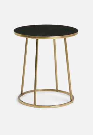 Hertex Fabrics Ida Side Table Antique Brass Steel And Black Marble