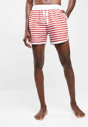 Basicthread Striped Swimshort With Piping Swimwear Red & White