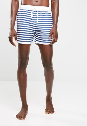 Basicthread Striped Swimshort With Piping Swimwear Blue & White