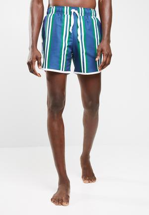 Basicthread Striped Swimshort With Piping Swimwear Navy, Green, Grey & White