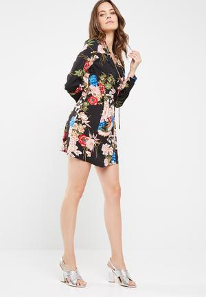 Missguided Floral Wrap Over Tie Side Mini Dress Occasion Black, Pink, Blue, Green, Pink & Orange