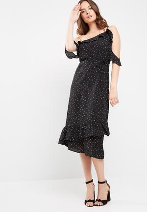 Missguided Chiffon Polka Dot Frill Detail Midi Dress Casual Black & White