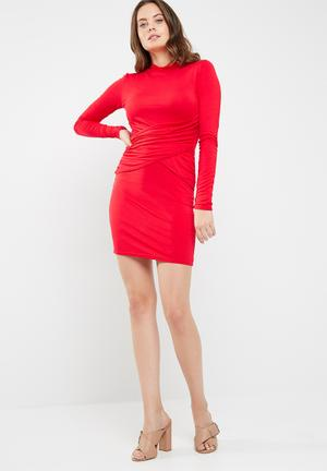 Missguided Long Sleeve High Neck Mini Dress Occasion Red
