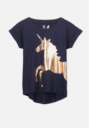 Cotton On Kids Penelope Short Sleeve Roll Up Tee Tops Dark Navy & Gold