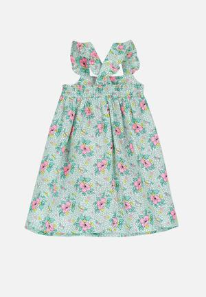 Cotton On Kids Claire Dress Green, Yellow, White & Pink