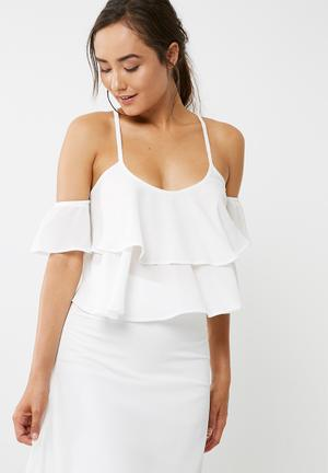 Dailyfriday Flounce Top Blouses White