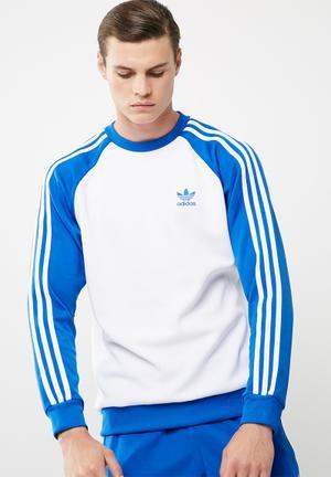 Adidas Originals SST Crew Hoodies, Sweats & Jackets Blue & White