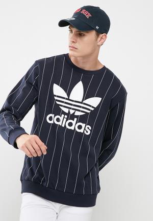 Adidas Originals Tokyo Pinstripe Crew Hoodies, Sweats & Jackets Navy