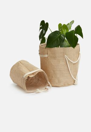 Sixth Floor Set Of 2 Storage Buckets Hessian