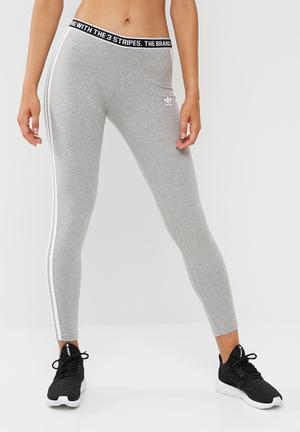 Adidas Originals 3 Stripe Leggings Bottoms Grey