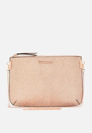 New Look Glitter Curve Flt Clutch Bags & Purses Rose Gold