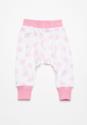 Kapas Harem Pants Pink & White