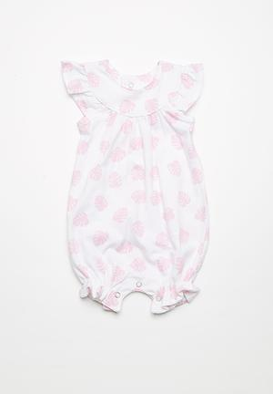 Kapas Frilly Romper Dresses & Skirts Pink & White