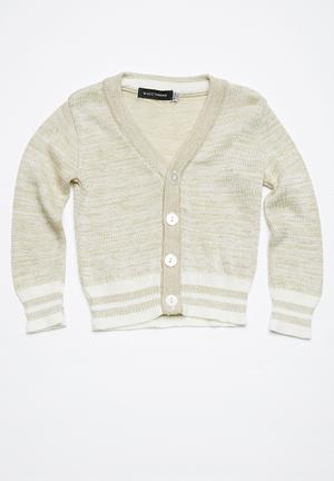 Basicthread Tipped Classic Cardigan Jackets & Knitwear Biege