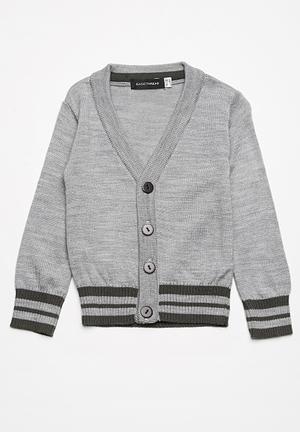 Basicthread Tipped Classic Cardigan Jackets & Knitwear Grey Melange