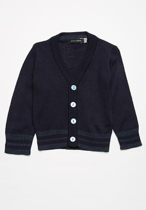 Basicthread Tipped Classic Cardigan Jackets & Knitwear Navy