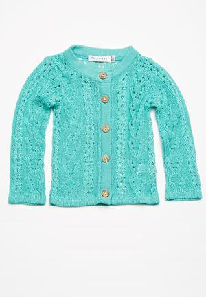 Dailyfriday Pointelle Summer Cardigan Jackets & Knitwear Turquoise