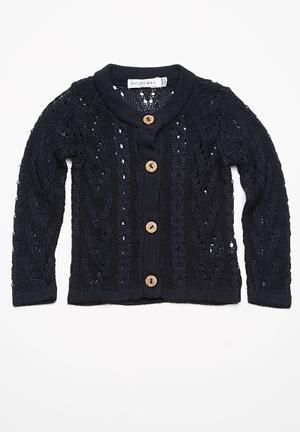 Dailyfriday Pointelle Summer Cardigan Jackets & Knitwear Navy