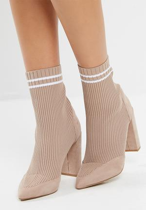 Missguided Knitted Stripe Pointed Ankle Boot Biege