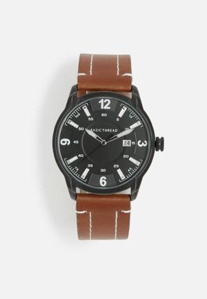Basicthread Bryan Stitch Detail Leather Watch Brown & Black