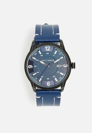 Basicthread Bryan Stitch Detail Leather Watch Navy & Black