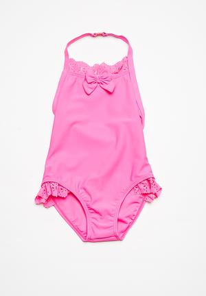 MINOTI Bow Frilled Swimsuit Swimwear Pink