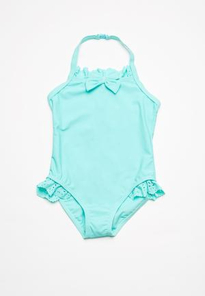 MINOTI Bow Frilled Swimsuit Swimwear Aqua