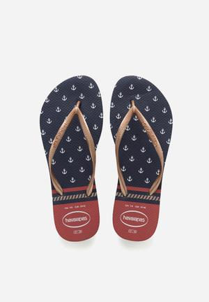 Havaianas Slim Nautical Sandals & Flip Flops Navy & Red