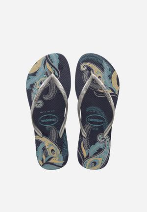 Havaianas Slim Organic Sandals & Flip Flops  Grey & Blue
