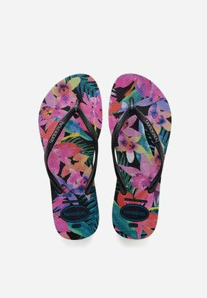 Havaianas Slim Tropical Sandals & Flip Flops Pink, Green, Red