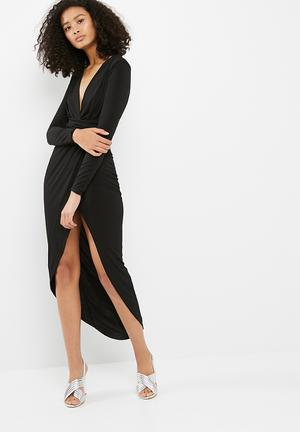 Missguided Slinky Plunge Wrap Longsleeve Split Maxi Formal Black