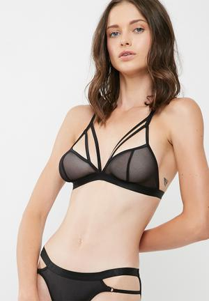 Dailyfriday Jasmine Mesh Multi Strap Bralette Black