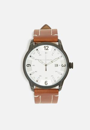 Basicthread Bryan Stitch Detail Leather Watch Brown & White