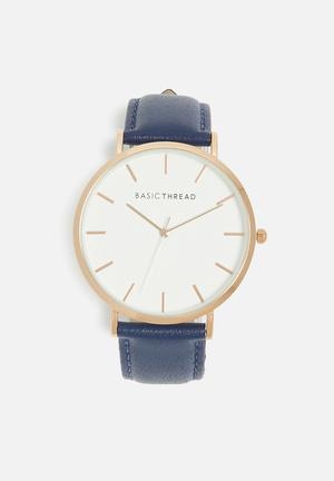 Basicthread Scott Leather Strap Watch Navy & Gold