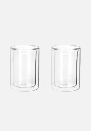 Kikkerland Ora Double Wall Tea Cup Set Of 2 Gifting & Stationery  Double-walled Glass