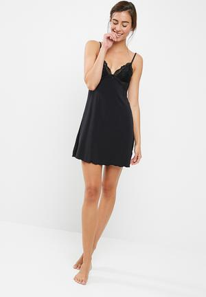 Dorina Lianne Slip Dress Sleepwear Black
