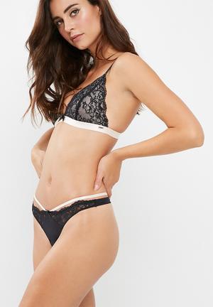 Dorina Agnes String Brief Panties Black & Pale Pink