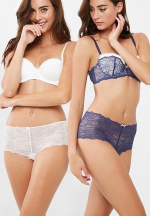 Dorina Layla 2 Pack Hipster Panties Blue & Ivory