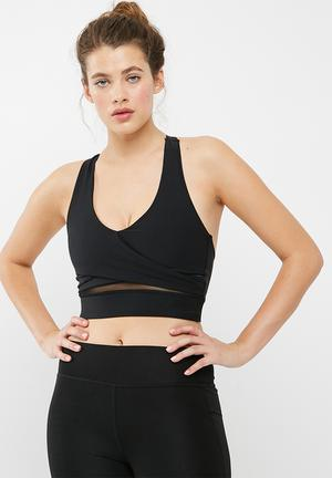 South Beach  Mesh Panel Sports Bra Crop Top T-Shirts Black