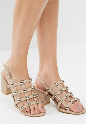 Public Desire Weekend Chrome Studded Heeled Sandal Nude