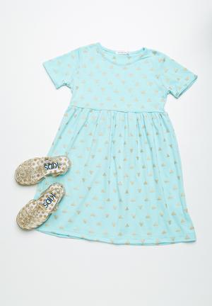 Dailyfriday Triangle T-shirt Dress  Blue & Gold