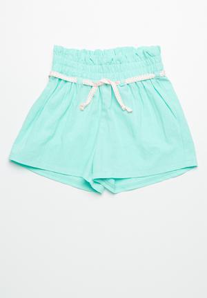 Dailyfriday Smocked Waist Shorts Blue