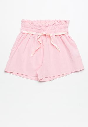 Dailyfriday Smocked Waist Shorts Pink