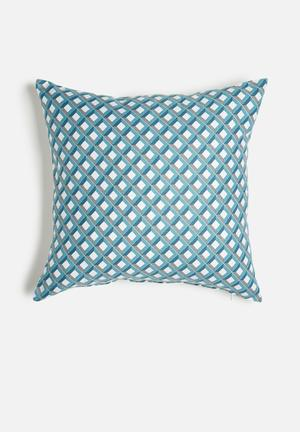 Grey Gardens Aqua Fence Cushion Cover Cotton Polyester Blend