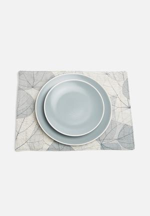 Grey Gardens Grey Leaves Placemat Set Of 6 Dining & Napery